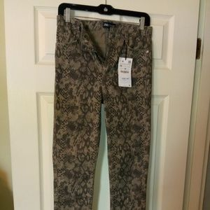 ZARA Reptile Skin Print Jeans